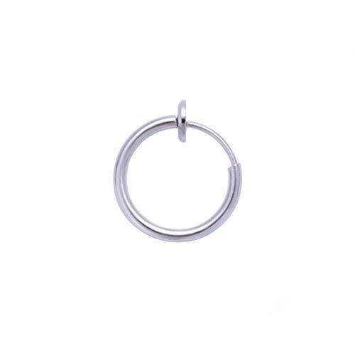 Botrong Unecht Spring Clip Nase Ring Reifen Lippenring Helix Ring Reifen Unecht Ohrring Creole - D, Inner Diameter: 13mm (Silber Ring Nose 18g)