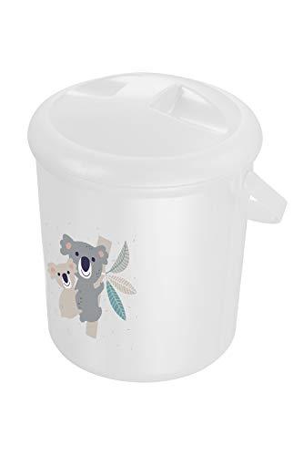 Rotho Babydesign Windeleimer, 10l, Ab 0 Monate, Niedliches Koala-Motiv, Bella Bambina, Weiß, 20021 0001 CQ