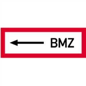 Schild Brandschutzschild: <-- BMZ Alu 10,5 x 29,7cm