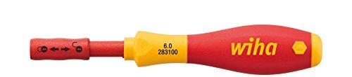 Wiha Schraubendreher mit Bithalter SoftFinish® electric slimVario für slimBits (34577) 6 mm x 50 mm  VDE geprüft, stückgeprüft, ergonomischer Griff für kraftvolles Drehen, Allrounder für Elektriker