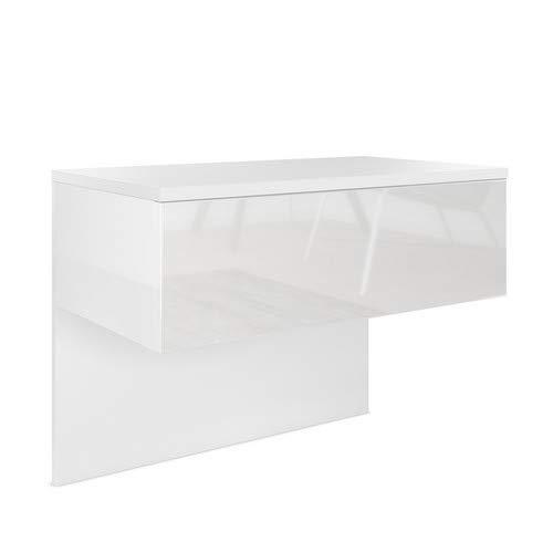 Vladon Nachttisch Nachtkonsole Sleep, Korpus in Weiß matt/Front und Seiten in Weiß Hochglanz