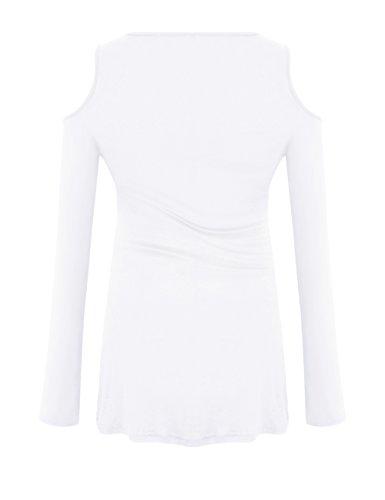 Yidarton Signore Manica Lunga Off Lace Up T-shirt Girocollo Spalla Sottile Sexy Camicetta Beige