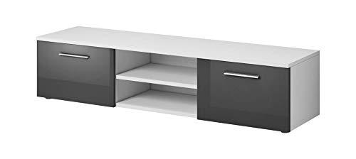 E-com VEGAS Meuble TV flottant contemporain décor Blanc et Gris - 150 cm
