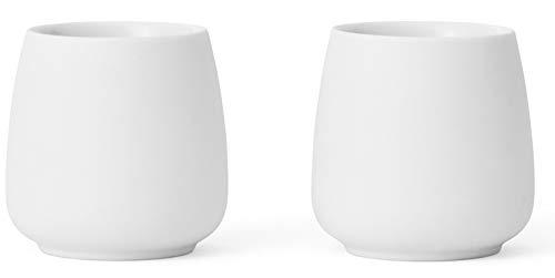Viva Scandinavia 9102149 Lot de 2 tasses en porcelaine blanche 8 cl Blanc