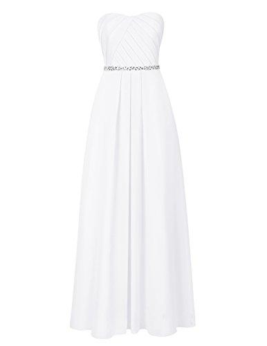 Dresstells Robe de cérémonie Robe de demoiselle d'honneur mousseline forme empire bustier en cœur Blanc