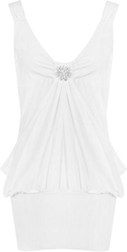 Fast Fashion - Broach Haut Sans Manche Plaine Diamant Dress - Femmes Blanc