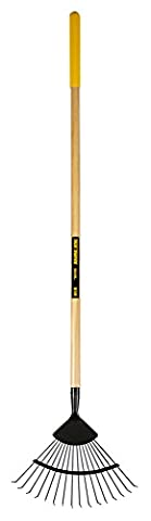 TRUE TEMPER TTW-WLR 164x39x9.5 cm Wire Leaf Rake 16T Round Tines Long Wood Handle - Yellow