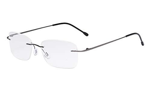 Eyekepper Damen Rahmenlos Brillen - Leichtgewicht Randlos Brillen Frau Metallisch Blaugrau