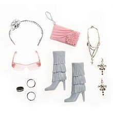 Moxie Teenz MT Fashion Accessories - Gray High Heel Boots, Pink Pocketbook, Sunglasses and Jewelry by Moxie Teenz