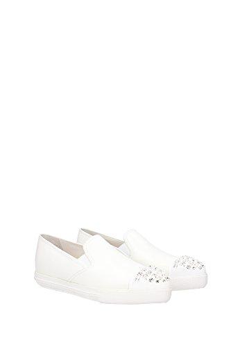5S9990BIANCO Miu Miu Sneakers Femme Cuir Blanc Blanc