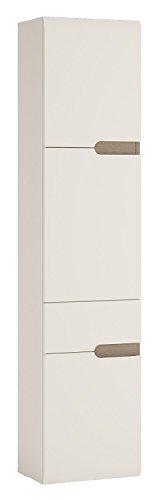 Hohe 2-tür Schrank (P & N Homewares® Solna hoch Badezimmer Hängeschrank in weiß hochglanz | für Badezimmer, Küche, Schlafzimmer etc. | hoch 1Tür 2Schublade Schrank | Tür links | modernes Skandinavisches Design | Solna Möbelserie)