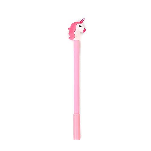 Niedlicher Cartoon-Einhorn-Kugelschreiber, Schwarz, Tinte für Büro, Schule, Geschenke, für Jungen und Mädchen (pink)