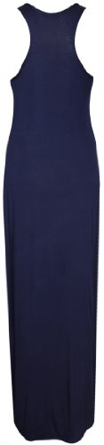 Neu Damen Racerback U-ausschnitt Schlicht Sommerkleider Damen Ärmellos Stretch Fit Langes Top Maxi Kleid Bleu Marine