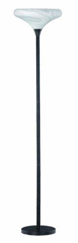 Trio Leuchten Stehleuchte rostfarbig-antik, Glas alabasterfarbig weiß, exklusive 1x E27 maximal 60W, mit Dimmer, ø 38 cm, Höhe: 180 cm 400300124