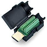 SIENOC HDMI 19P Plug à Bornier Breakout Mâle DIY Connecteur Plug W/Black Cover