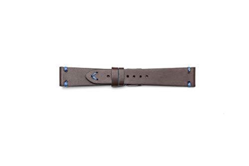 Cinturino Vintage in Cuoio con Profilo Blu (18-16, Testa di Moro)