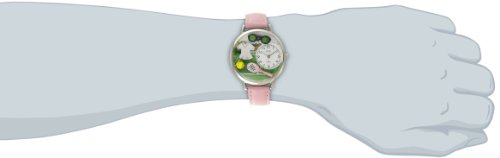 Whimsical Watches Tennis Female Pink Leather and Silvertone Unisex Quartz Watch with White Dial Analogue Display and Multicolour Leather Strap U-0810008