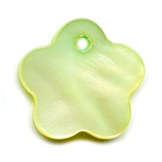 Mother-of-Pearl Flower-shaped Sequins 15mm Green x10