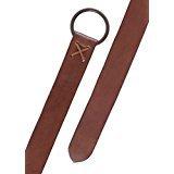 Battle-Merchant - Cinturón medieval de piel marrón con anilla de latón, 150cm de largo aprox.