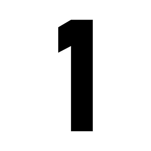 Vinyl-Wandaufkleber - große einzelne Zahlen - 12,7 x 3,8 cm - Personalisiertes individuelles Set DYI Home Laptop Kaffee Tasse Gepäck Notebook Fenster Büro Party Decor 1 schwarz - Individuelle Kaffee-pakete