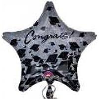 """Palloncino """"Congrats"""" cappello laurea a forma di stella - Cm.48 in Mylar Foil - Contratulazioni Laurea-VENDUTO SGONFIO"""