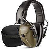 Elektronischer Schieß-Ohrenschützer mit Hard Travel Aufbewahrungstasche, awesafe GF01+ Lärmminderung Klangverstärkung Elektronischer Gehörschutz, Gehörschutz, NRR 22 dB, Grün