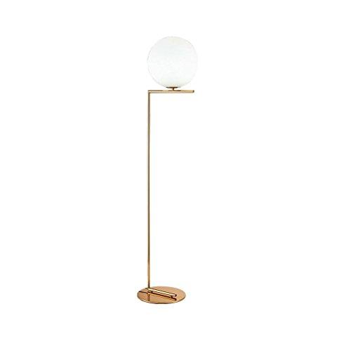 CLOTHES UK- E27 Creative verre boule ronde lampe de chevet 1-lumière lumière chaude lampadaire avec base ronde en laiton Lampadaire (taille : L)