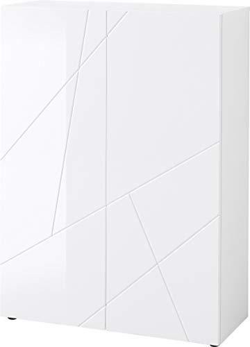Germania Schuhschrank 2362-84, in Weiß, mit Hochglanz Fronten, 89 x 120 x36 (BxHxT) - Schrank-tür-schuhregal