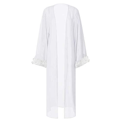 MERICAL Mode Frauen Sexy Sheer Mesh Ausgestellte Ärmel Cover Ups Sonnencreme Lange Bademantel(Weiß,M)