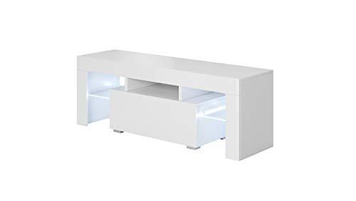 muebles bonitos - Mueble TV Modelo Elio (130x45cm) Color Blanco con LED RGB