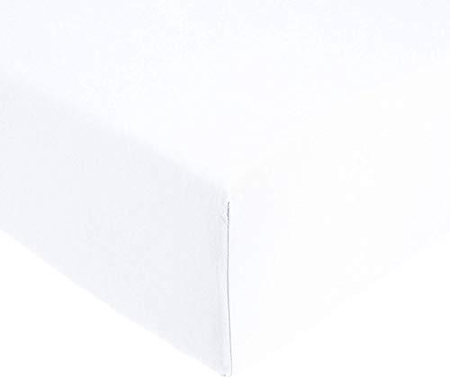Amazonbasics 'everyday' lenzuolo con angoli matrimoniale, in 100% cotone, bianco 160 x 200 x 30 cm