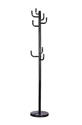 Meubletmoi Porte-Manteau Cactus sur Pied en métal laqué Noir 8 patères -Rangement Vestes - Design Moderne - Groovy No