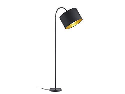 Lampadaire LED décorative avec bras flexible 156 cm de diamètre avec abat-jour en plastique noir mat et intérieur doré - Ambiente lumineuse unique avec filament LED au design élégant