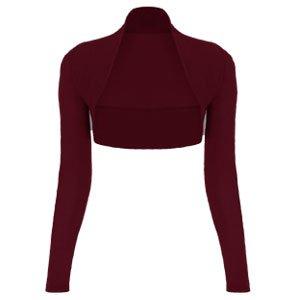 Donna ragazze Bolero-Cardigan a maniche lunghe, da donna, corta, Bolero alto tutti i colori. Bordeaux