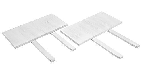 2 Stück Kiefer-tisch (2er Set Ansteckplatten Weiss 40x80cm für Esstisch Rio Bonito 120x80, 140x80 Pinie Massivholz Vintage Used- Look, für Tische Farbton Shabby White)