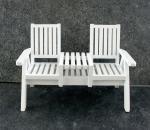 Puppenhaus Miniatur Gartenmöbel weißes Holz Rasen Loveseat Doppel Stuhl