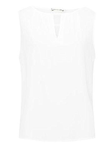 Shirt Damen Chiffon Ärmellos Trägerlos Rundhals Aushöhlen Elegant Sommer Locker Tank Tops Chiffonbluse Weiß