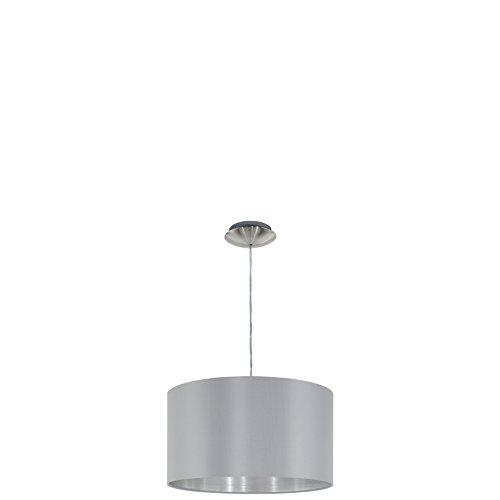 EGLO Hängeleuchte, Stahl, E27, Nickel-matt/Grau/Silber, 38 x 38 x 110 cm