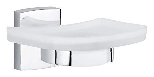 Tesa klaam Design-Seifenschale (inkl. Klebelösung, verchromt, rostfrei, satinierte Ablage, 60mm x 132mm x 120mm) - Glas-seifenschale