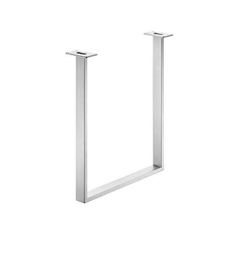 Gedotec Tischkufe Tischgestell zum Anschrauben | Tragkraft 150 kg | Höhe: 720 mm | Tischbein Edelstahl matt gebürstet | Profil 80 x 20 mm | Möbelfuß höhen-verstellbar +10 mm | 1 Stück