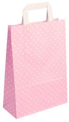 250 Stück farbige Papiertragetaschen Papiertaschen rosa-weiß gepunktet 18 + 8 x 22 cm