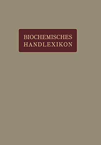 Biochemisches Handlexikon: I. Band, 2. Hälfte