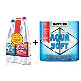 Thetford WC-Flüssigkeit, für Frische und Sauberkeit, 3er-Set, komplettes WC-Reinigungspack 1,5 l, Blaue WC-Flüssigkeit + 1,5 l Aqua Fresh Toilettenreiniger + 4 Pack Aquasoft Toilettenpapier