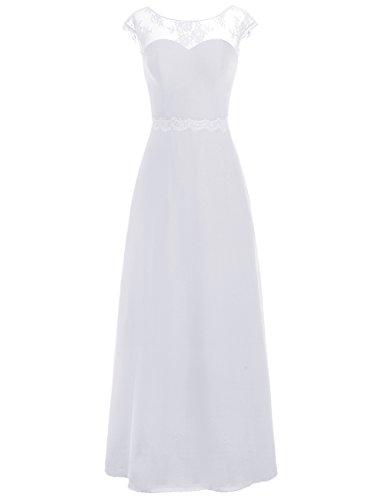 Dresstells, Robe de soirée Robe de cérémonie Robe de demoiselle d'honneur mousseline longueur ras du sol Blanc
