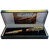 Handgefertigter nachfüllbarer Kugelschreiber aus Holz - Made in Ireland mit Walnussholz und Goldverzierung