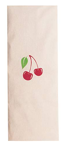 Zollner24 Kirschkernkissen ca. 20x53 cm, abnehmbarer Bezug aus Baumwolle, natur mit Kirschaufdruck, Serie D023