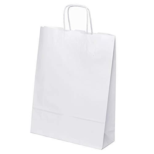 25 Stk. Papiertaschen groß 33 x 25 x 8 cm Praktische Bodenbeutel Tragetaschen Obstbeutel Mitgebseltüten Geschenktaschen Süßigkeiten Geschenkverpackung Gastgeschenke Tüten Weiß Kraft Geschenkpapier
