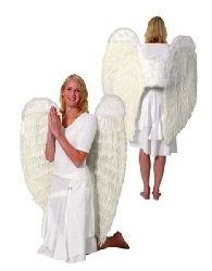 Mondial-fete - Ailes d'Ange à Plumes Géantes Blanc 90 x 90 cm