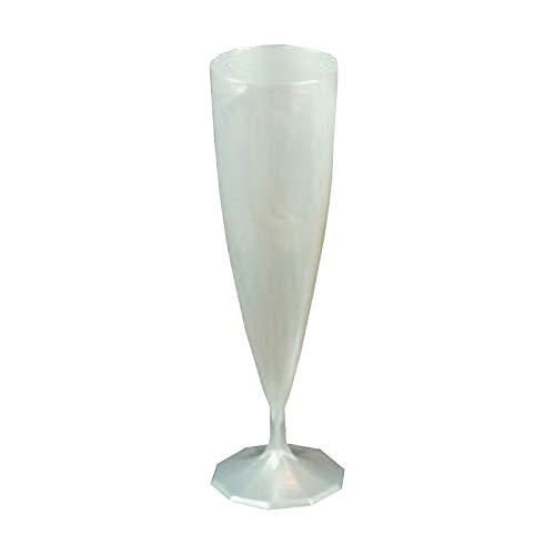 Adiserve Lot DE 20 flûtes à Champagne Mariage Plastique jetable Couleur Blanc nacré