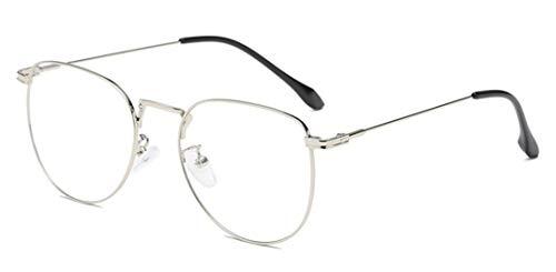 Metall Frame Retro Glasrahmen-Ebenenspiegel Dekobrille Klassisches Rund Rahmen Glasses Klare Linse Brille Ohne Sehstärke Fensterglas Brille Herren Damen
